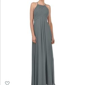 Steel grey long bridesmaids dress